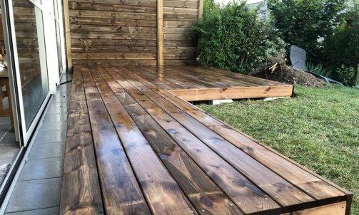 Terrasse en pin traité brun autoclave classe 4