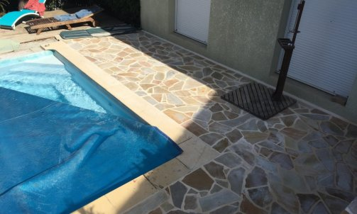 "Terrasse en pierre ""quartzite"""